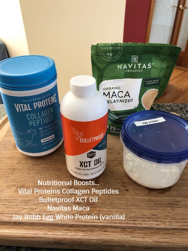 Nutritional Boosts - collagen, xct oil, maca, protein powder